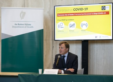 Dr Cillian De Gascun at the nightly briefing in the Department of Health.