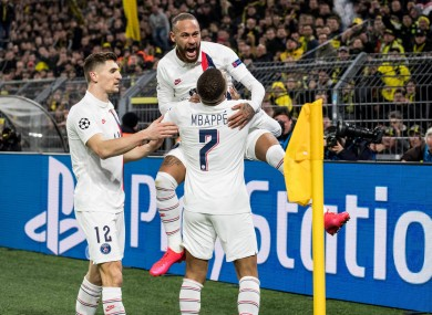 Neymar and Kylian Mbappe celebrate.