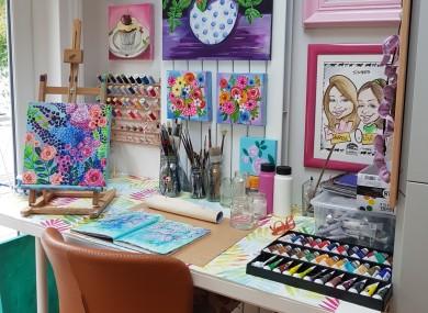 Noeleen's 'creative corner' in her kitchen.
