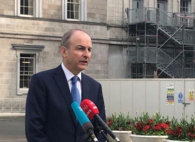 Fianna Fáil leader Micheál Martin at Leinster House this evening