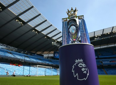 A general view of the Premier League trophy before it was awarded to Manchester City in 2018.
