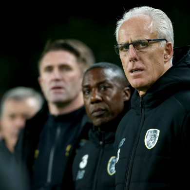 Ireland manager Mick McCarthy with assistant Terry Connor and coach Robbie Keane.
