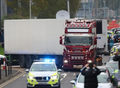The container lorry in which 39 people were found dead inside