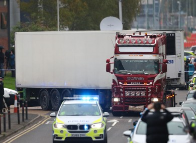 The lorry in Essex in which 39 people were discovered last year.