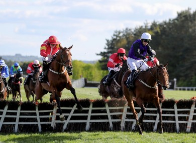 Mr Adjudicator (right), ridden by Patrick Mullins, on the way to winning the Ballymore Handicap Hurdle at Punchestown last year.