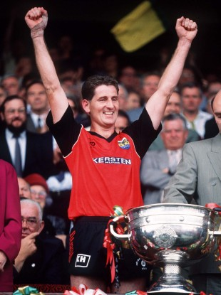 Paddy O'Rourke with the Sam Maguire in 1991.