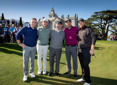 Paul McGinley, Rory McIlroy, JP McManus, Padraig Harrington and Shane Lowry at the 2018 Pro-Am.