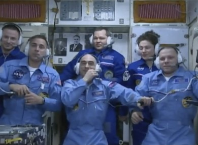 Some of the ISS crew on 9 April.