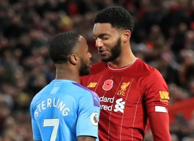 Man City forward Raheem Sterling and Liverpool defender Joe Gomez.