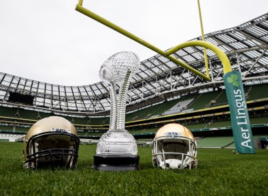 Navy and Notre Dame helmets in the Aviva, when the fixture was announced in 2018.