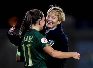 Ireland manager Vera Pauw and captain Katie McCabe.