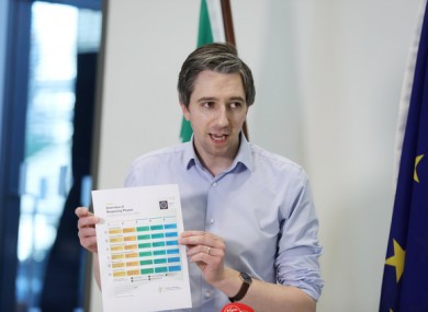 Minister for Health Simon Harris speaking to media in the Department of Health yesterday.