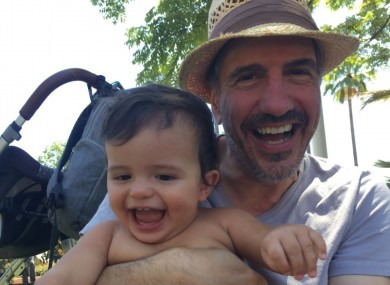 Sam Lloyd with his young son Weston