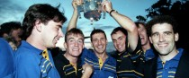 Clare players celebrating after their 1995 All-Ireland success.