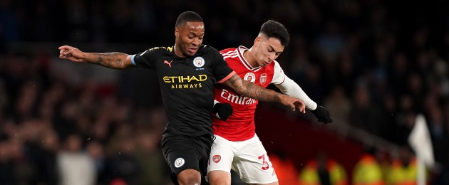 Manchester City's Raheem Sterling and Gabriel Martinelli of Arsenal.