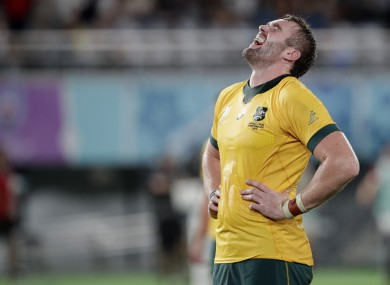 Australia's Izack Rodda during the Rugby World Cup.