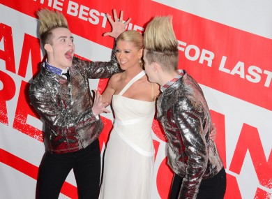 Jedward with Tara Reid in 2012.