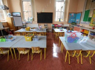 An empty Junior Infants classroom  at Gardiner Street Primary School.