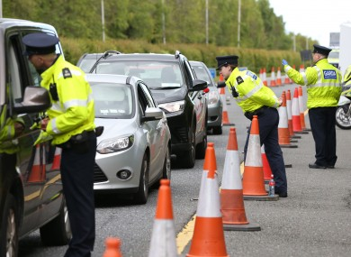 Gardaí conducting a checkpoint earlier this month.