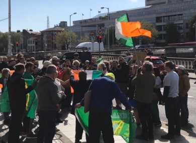 Supporters of Gemma O'Doherty and John Waters outside the Four Courts this morning.