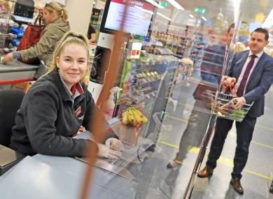 Plexiglass at a supermarket till.
