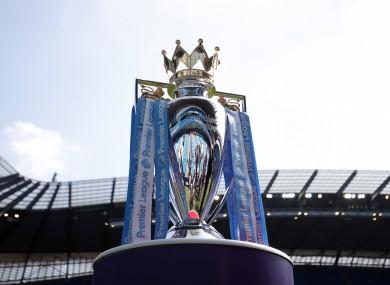 A view of the Premier League trophy.