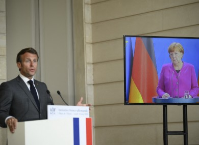 German Chancellor Angela Merkel and French President Emmanuel Macron announce their support for the recovery fund