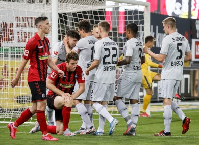 Kai Havertz celebrates after scoring for Bayer Leverkusen.