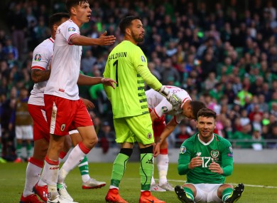 Scott Hogan reacts with frustration after a missed chance in Ireland's game against Gibraltar last June.