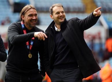 Stuart Webber (right) with Norwich manager Daniel Farke.