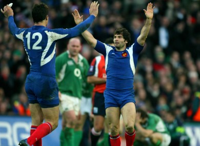 Christophe Dominici celebrates after France's last-gasp Six Nations win over Ireland at Croke Park in 2007.