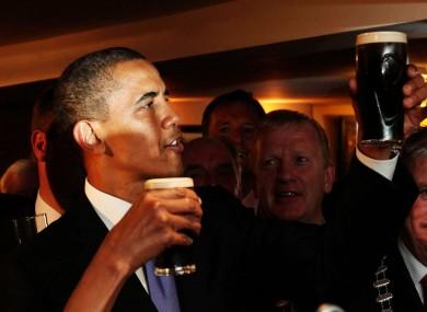 Obama enjoys a pint of the black stuff on his trip to Ireland.