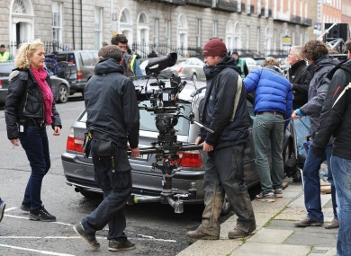 Cast and crew filming The Sea starring Sinead Cusack and Ciarán Hinds in Dublin in 2012.