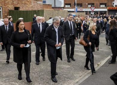 Sinn Féin leader Mary Lou McDonald, former Sinn Féin leader Gerry Adams, and Deputy First Minister Michelle O'Neill arrive at St Agnes' Church in west Belfast
