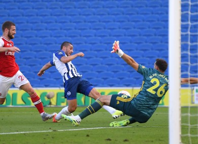 Neal Maupay scores the winning goal.