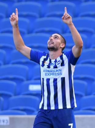 Neal Maupay celebrates scoring.