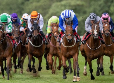 Colin Keane on Bucky Larson (blue and white) comes home to win the Support The Irish Injured Jockeys Handicap.