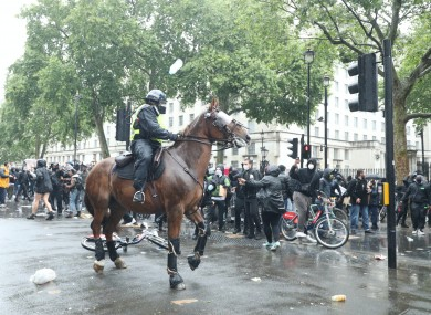 Mounted police in Whitehall following a Black Lives Matter protest.