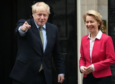 File image: Johnson with von der Leyen at Downing Street.