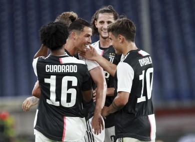 Cristiano Ronaldo celebrates making it 2-0.