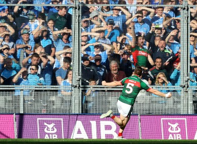 Lee Keegan celebrates scoring a goal in front of Hill 16 during the 2017 All-Ireland final.