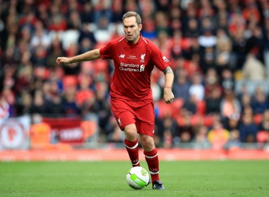 McAteer playing as part of a Liverpool Legends team at Anfield in 2019
