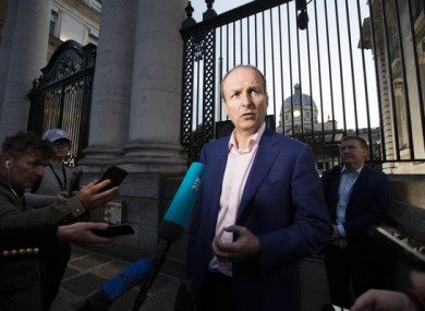 The Fianna Fail leader leaving Government Buildings this evening.