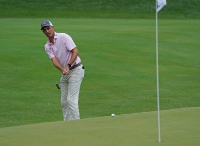 Brendon Todd putts on the 15th green during the third round of the Travelers Championship golf tournament.