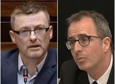 Sinn Féin's David Cullinane and Sec Gen of the Department of Health Jim Breslin.