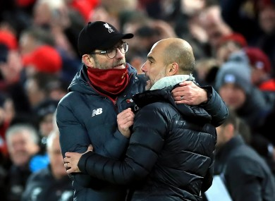 Liverpool manager Jurgen Klopp and City's Pep Guardiola.