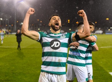 Roberto Lopes of Shamrock Rovers, who hold a three-point lead at the top of the Premier Division.