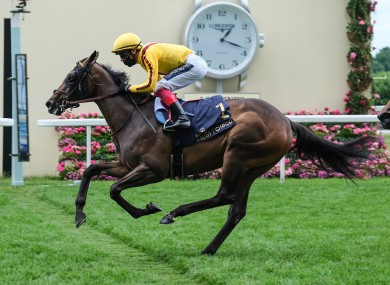 Campanelle ridden by Frankie Dettori wins the Queen Mary Stakes.