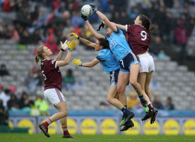 Dublin and Galway players contest a ball during last year's senior final.