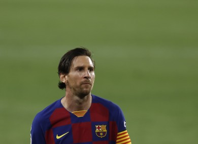 Disappointment for Lionel Messi and his Barcelona team-mates.